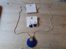 Dorothy Perkins Long Pendant Neckalce & Earrings Set Navy Mix BNWT