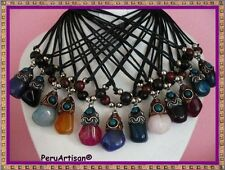 WHOLESALE LOT 18 NECKLACES PENDANTS OF AGATE STONES & QUARTZ PERU!!