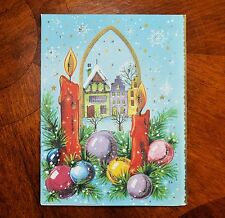 Vintage UNUSED Christmas Card GLITTER HOUSES Germany DIE CUT POP-OUT 3D POP-UP