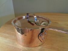 Antique Copper Hand-Hammered Sauce Pot w/ lid - both dovetailed rare lid