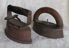 Cast Iron Stove Top Heated Antique Irons Detachable Wood Handles Primitive Tools