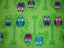 CLEARANCE FQ CUTE OWLS BRANCHES TREES BIRDS  FABRIC GREEN