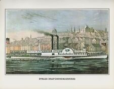 """1978 Vintage """"STEAMBOAT KNICKERBOCKER"""" ALBANY NY CURRIER & IVES COLOR Lithograph"""