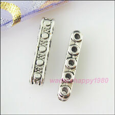 40Pcs New Tibetan Silver Charms 5-Hole Spacer Bar Beads DIY Crafts 3.5x17mm