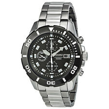 Seiko Chronograph Black Dial Stainless Steel Mens Watch SNDD99