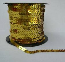 6mm Wide By the Yard Strung Flat Sequins Gold Metallic Bling Trim Craft Sewing