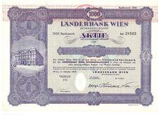 Länderbank Wien AG  1939  1000 Reichsmark  Bank Austria