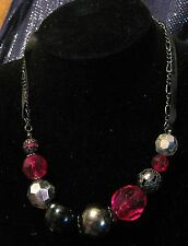 Lovely dark tone metal with dark ribbon necklace with large stunning beads