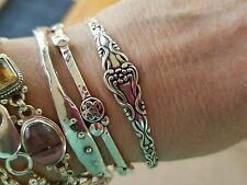 sterling silver Vintage antique flower bangle bracelet