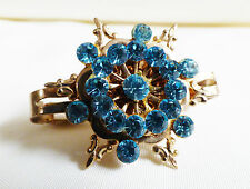 VTG Floral flower design Gold tone Blue Crystal hair pin dress tie scarf clip