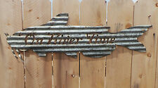 FREE SHIPPING Rustic Rusted Metal Corrugated On River Time Catfish Sign
