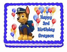 PAW PATROL CHASE edible party cake topper decoration frosting sheet image