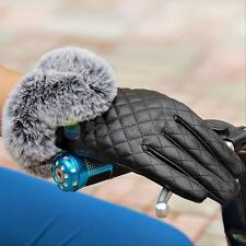 New Women Lady Black Leather Gloves Warm Winter Touch Screen Rabbit Fur Mittens