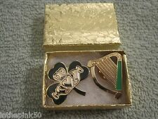 Irish Gaelic Shamrock Claddagh Brooch & Irish Harp Pin Gift Box Set Irish Pride