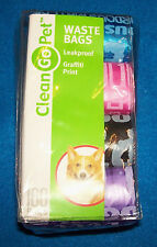 Clean Go Pet 8 Pack Refill Waste Bags Graffiti Print Black Pink Blue Purple