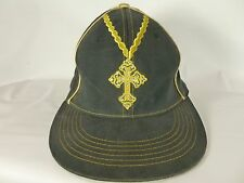 "Men's Black Gold Crunk Hat Cap Cross Bling Jeweled 7 1/4""  Flex Fashion Nice Hat"
