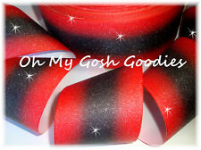 "3"" GLITTER DOUBLE OMBRE CHEER GROSGRAIN RIBBON 4 TIC TOC BOW HAIRBOW RED BLACK"