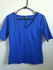 Ann Taylor v neck 1/2 sleeve shirt blue fitted top XS