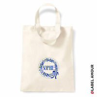PERSONALISED Name Favour Party Gift Canvas Tote Bag | Bow
