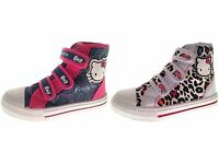 Kids Girls Hello Kitty Canvas Pumps Velcro Hi Tops Boots Trainers Size UK 8 to 2