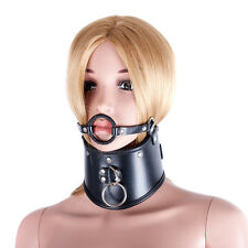 Quality PVC Leather Neck Collar with Harness O ring Mouth Gag Black