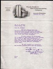 1915 Lincoln NE - Woods Brothers Silo & Manufacturing Co - Vintage Letter Head