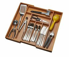 Drawer Organizer Kitchen Cultery Tray Expandable Utensil Flatware Bamboo Storage