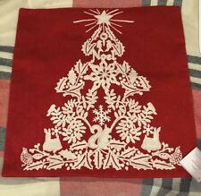 """NWT POTTERY BARN EMBROIDERED CHRISTMAS TREE PILLOW COVER 18"""" HOLIDAY"""