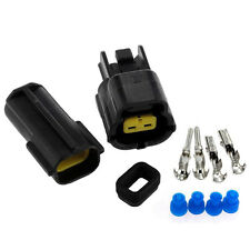 2 Set Kit Car Auto 2Pin Waterproof Electrical Wire Cable Connector Plug Black