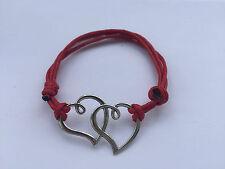 Armband Baumwolle gewachst Leder Herz Love rot