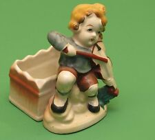 Occupied Japan figurine / Planter Boy playing violin or fiddle
