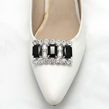 Wedding Bridal Fashion Black Rhinestone Crystal Silver Shoes Clips Jewelry Pair