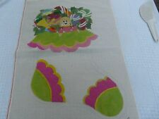 Vintage Pru Hand painted  14 count HUGE Christmas stocking Needlepoint canvas
