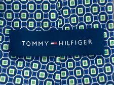 Designer Tommy Hilfiger GEO Cravatta Di Seta Verde Blu Navy a pois a righe nuovo senza etichetta prezzo consigliato £ 55
