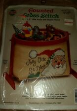 Counted Cross Stitch Needlemagic ,Jolly Old St. Nick Oval Hoop Display Stand NIP