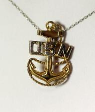 """Sterling Silver Gold Vermeil USN Anchor Pin 1-1/8"""" – 9051"""