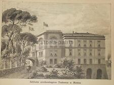 ROMA_ANTICA VEDUTA ARCHITETTONICA_ISTITUTO TEDESCO_GRANDE PALAZZO_CON BANDIERE