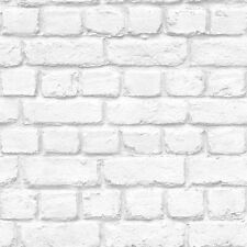 Warehouse Realistic Whitewashed Rustic Old Brick Wall Quality Wallpaper White