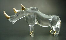 Glass African RHINO, Wild RHINOCEROS, Glass Animal Clear & Gold Painted Ornament