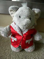 "ELLIOT & BUTTONS WEARING RED NIGHTDRESS & DRESSING GOWN SOFT TOY PLUSH 10"" TALL"