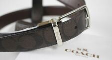 "NWT COACH Men's Mahongany Leather  Signature ""C"" Reversible Silver Belt One Size"