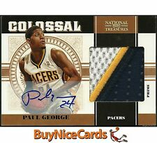 2010-11 Paul George National Treasures Colossal 3 Color RC Rookie Patch Auto /25