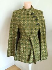 STUNNING 1960s BELTED WOOL CAPE UNWORN MINI GOGO MODS VINTAGE WELSH COUTURE UK14
