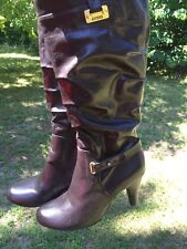 G by GUESS High Heels Simpson Boots Gold Zipper Jessica Knee Womens Shoes Size 9