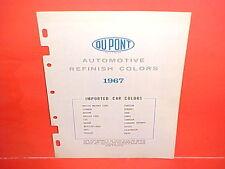 1967 DUPONT IMPORTED CAR PAINT CHIPS COLOR LIST PORSCHE JAGUAR MERCEDES-BENZ BMC