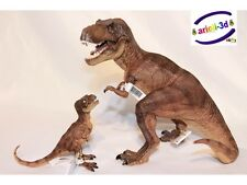 LOT BROWN T REX TYRANNOSAURUS & BABY JURASSIC WORLD DINOSAUR PAPO FIGURINE NEW