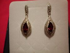 Mozambique Garnet Marquise Dangle Earrings in Platinum Overlay-2.50 Carats