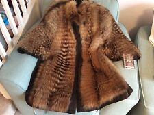 REAL FUR FINNRACCOON MURMASKY FUR & SUEDE JACKET CAPE UK SIZE 14 16 18