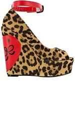 IRON FIST LOVECAT PEEP TOE WEDGES SZ 9 SHOES LEOPARD PIN UP NEW AUTHENTIC