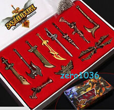 11PCS LOL League Of Legends Badge Weapon Keychain Toy Collection Playset In Box